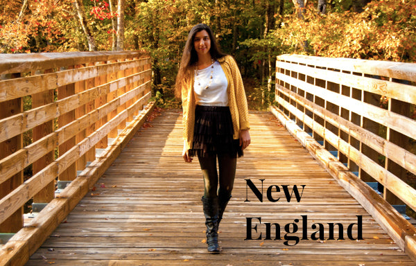 new England fall woman wearing necklace