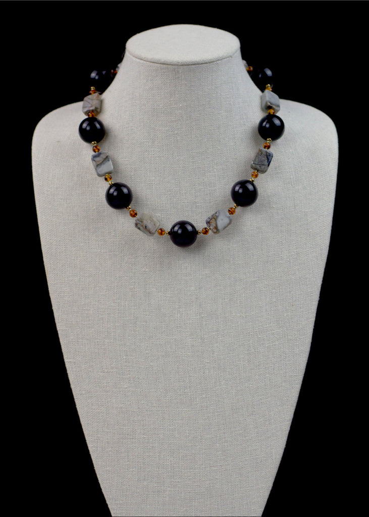 Bold Black and Stone Necklace