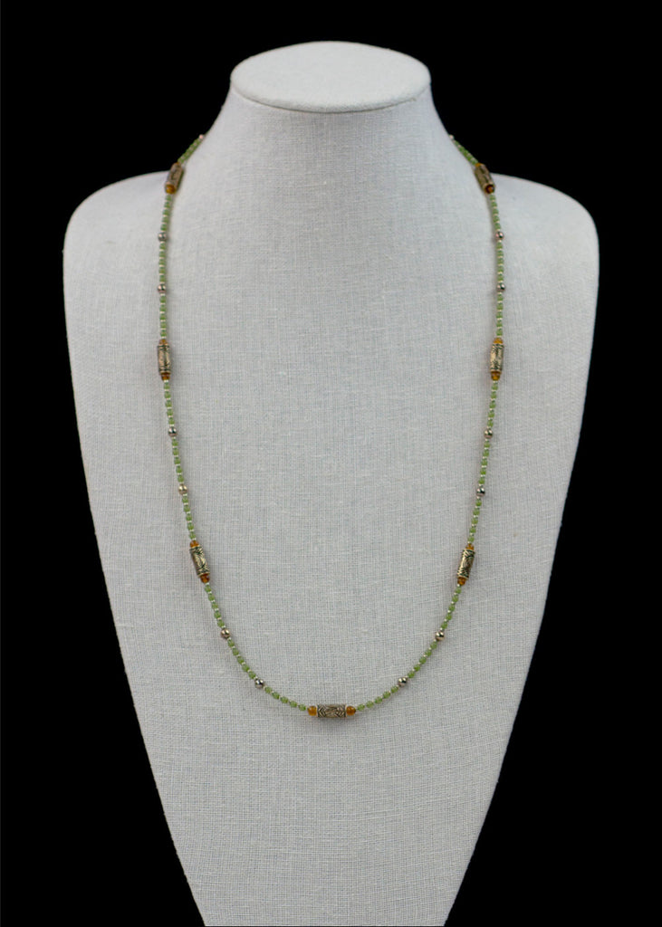 Light Green Metal and Glass Necklace