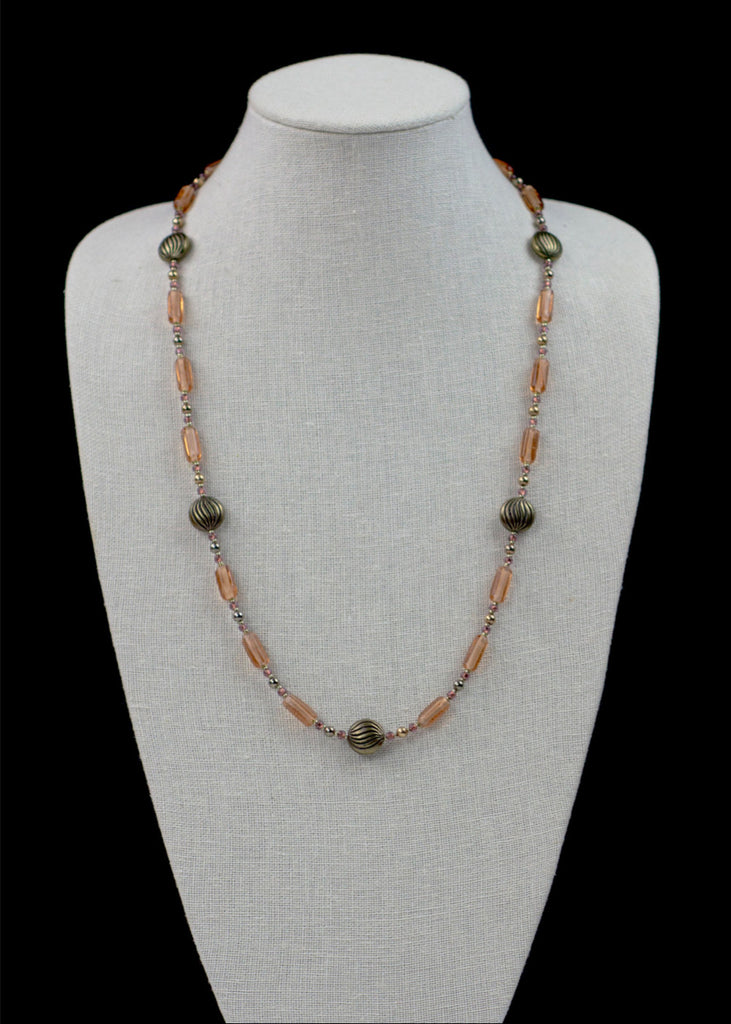 Bold Peach Metal and Glass Necklace