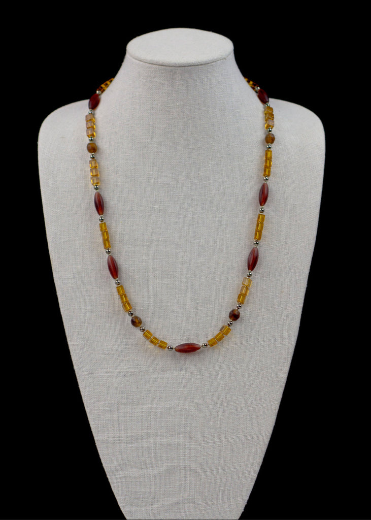 Orange and Deep Red Glass Necklace