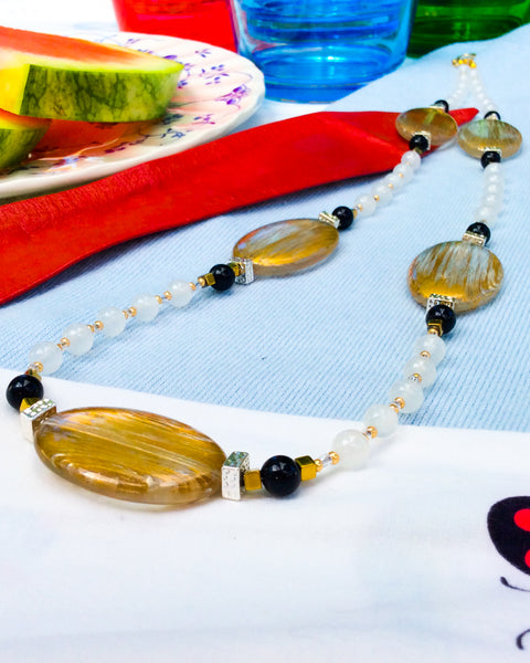 Gold Painted Acrylic and Silver '60s Necklace