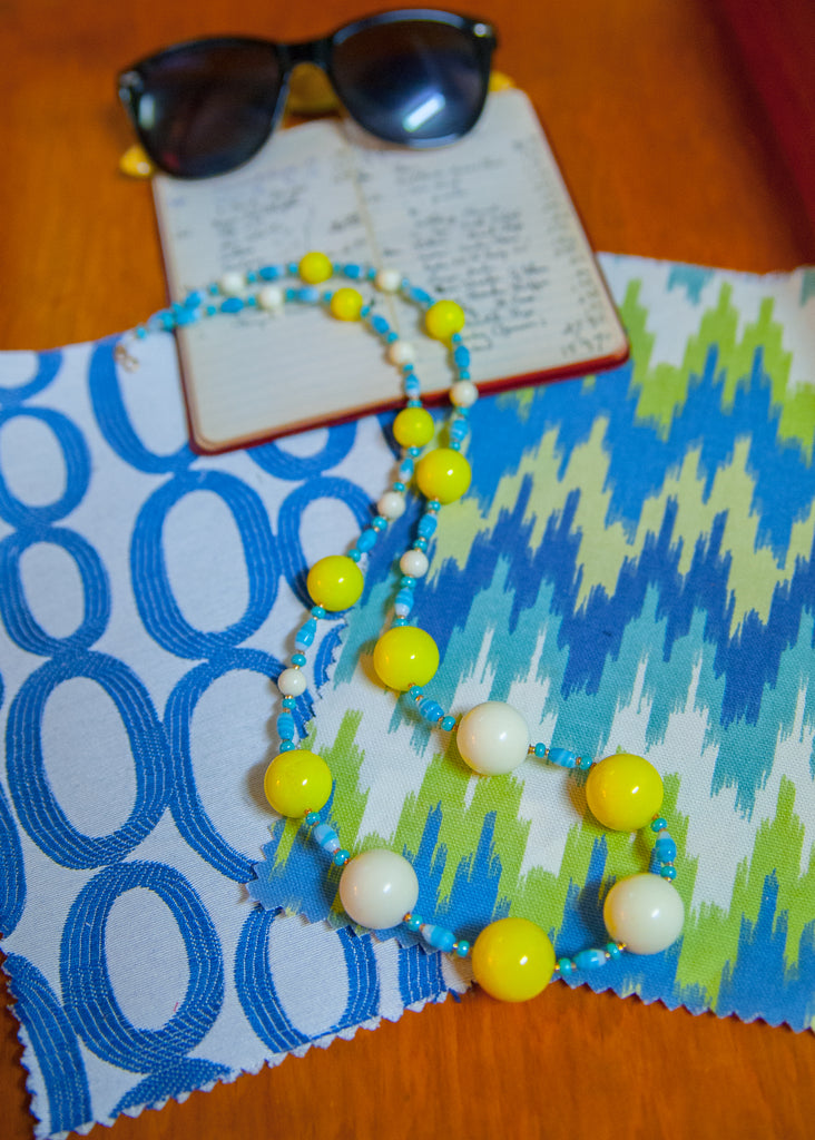 Yellow, Blue and White Acrylic and Alabaster '60s Necklace