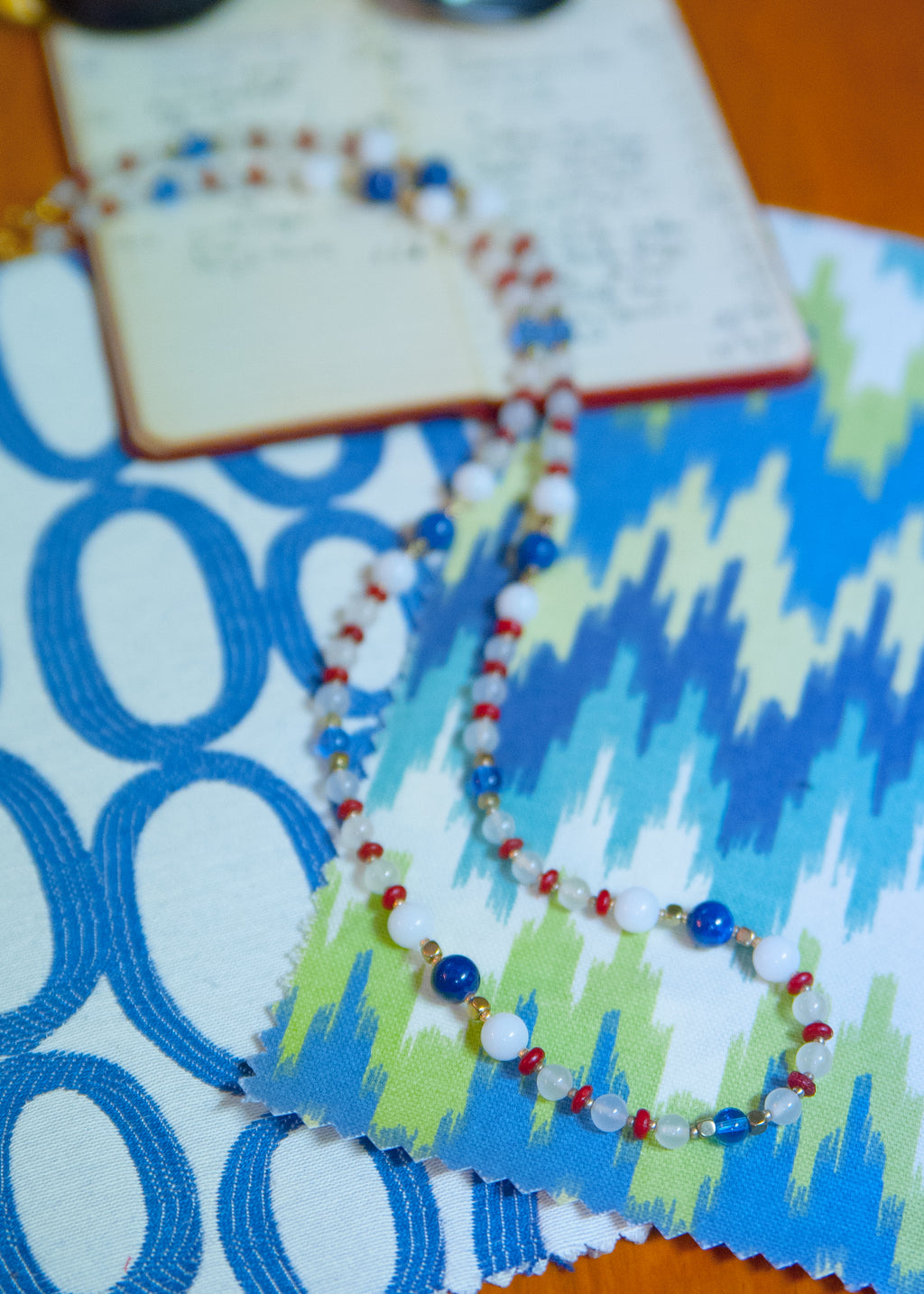 Blue and Red Acrylic and Alabaster '60s Necklace