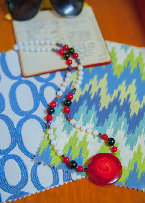 Red Glass Centerpiece and Alabaster '60s Necklace