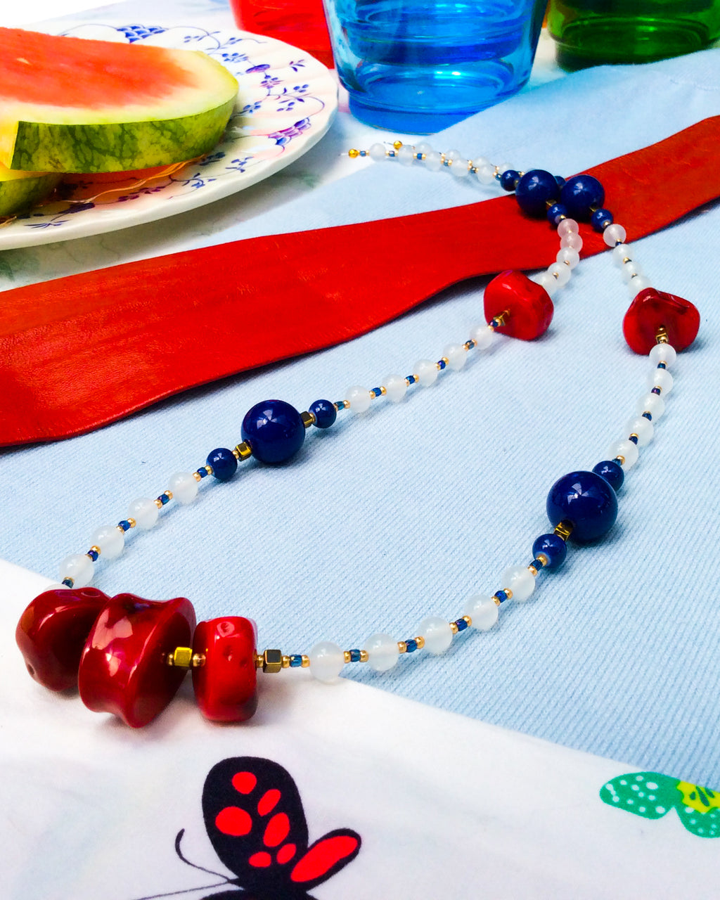 Red, Blue Acrylic and Alabaster '60s Necklace