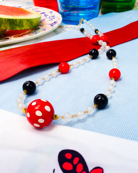 Red Polka-Dot Acrylic and Alabaster '60s Necklace