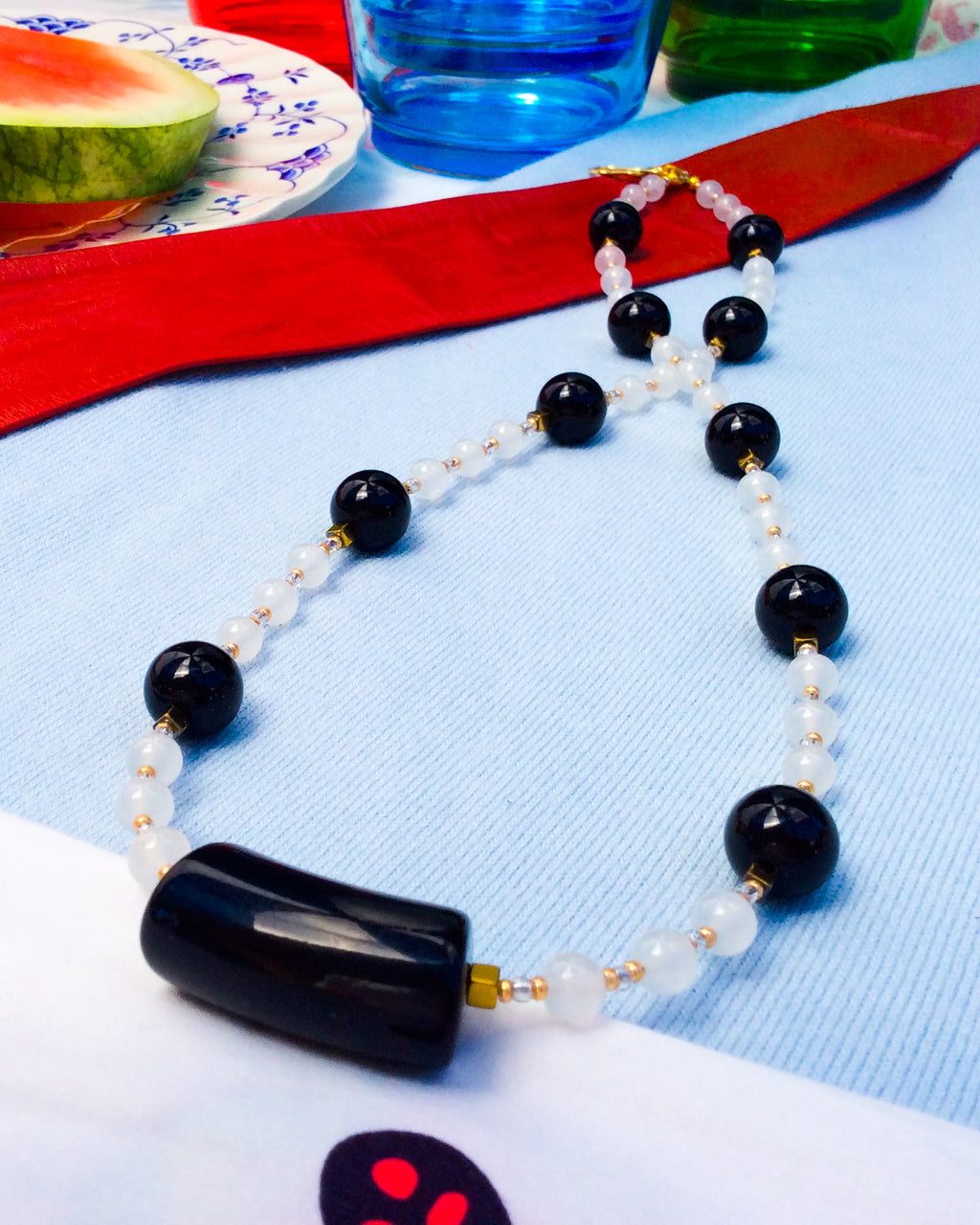 Black Acrylic and Alabaster '60s Necklace