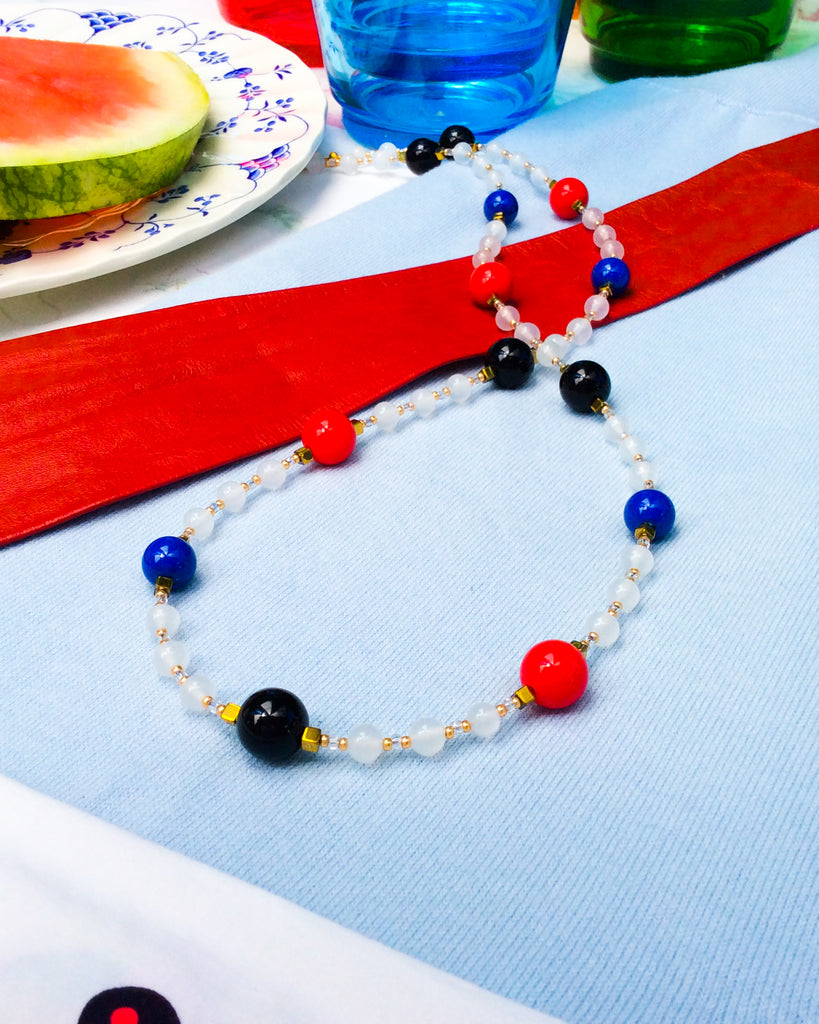 Blue, Black and Red, '60s Necklace