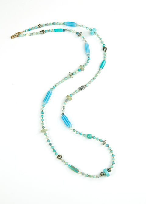 Aquamarine Trade Bead Yoga Necklace