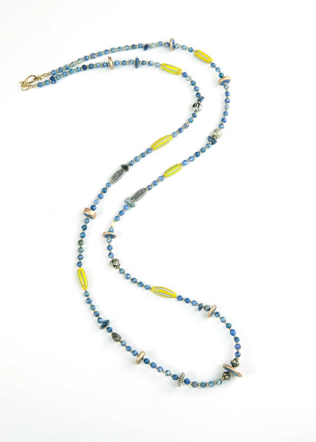 Blue and Yellow Trade Bead Yoga Necklace