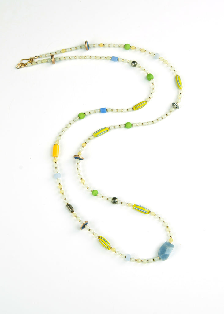 Green and Blue Trade Bead Yoga Necklace