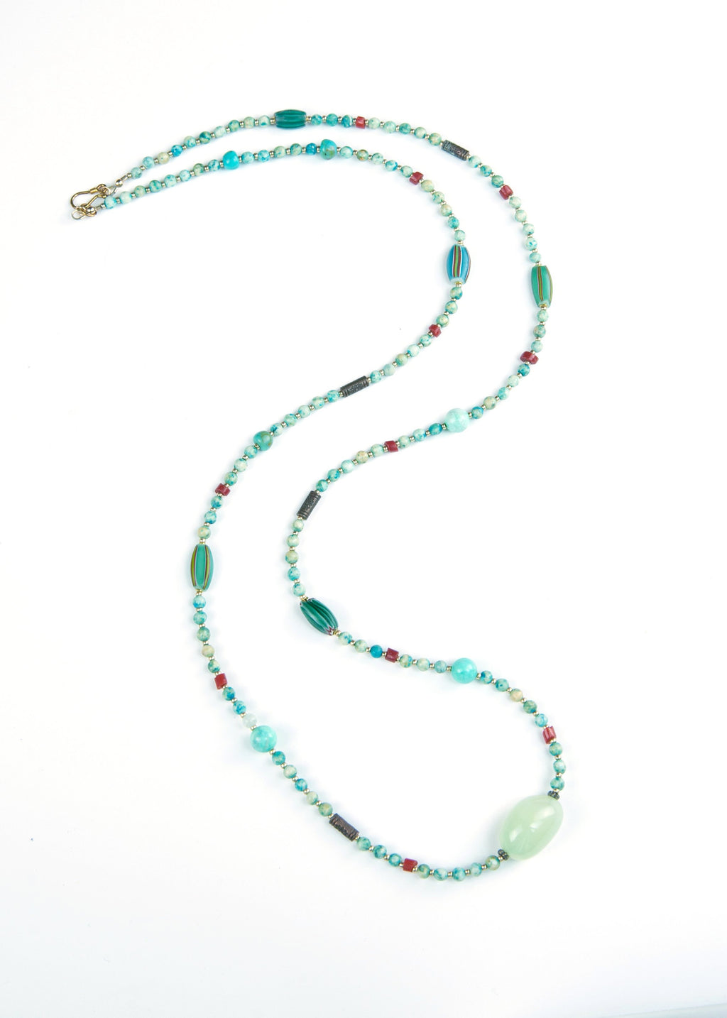 Blue Green Stone Yoga Necklace
