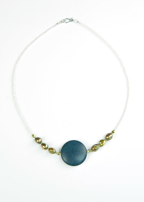 Blue Stone and Olive Envy Necklace