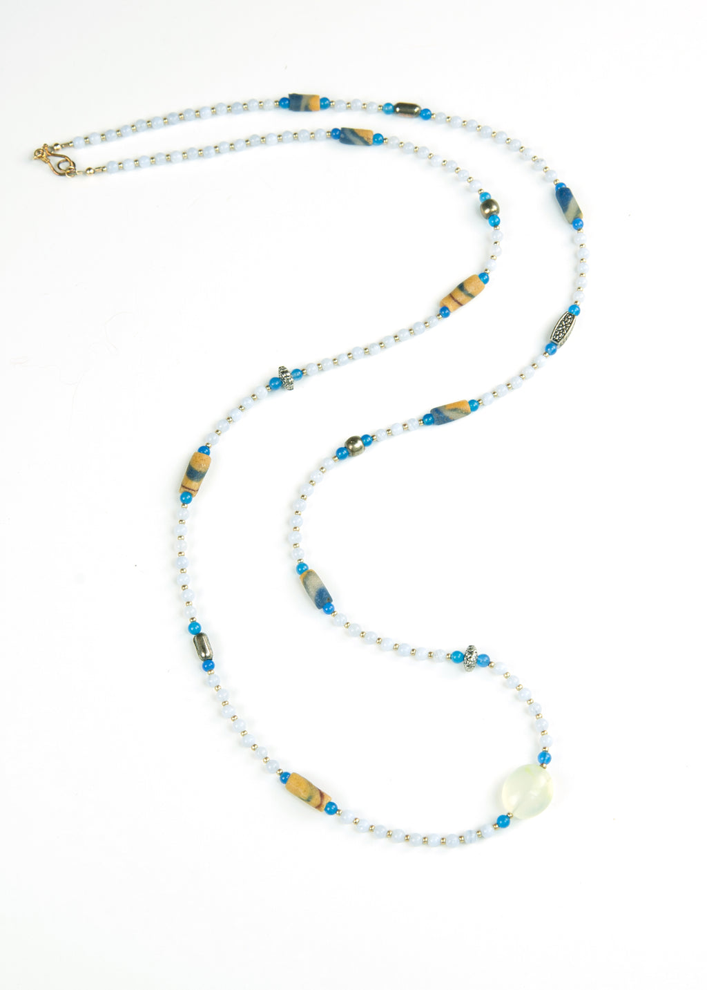 Blue Stone and Orange Yoga Necklace