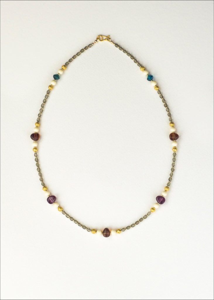 Multi-colored and Grey Glass Necklace