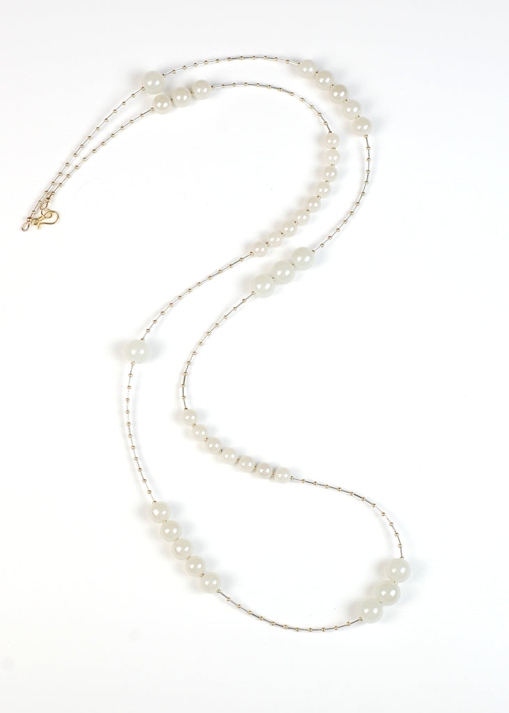 Cream Glass Flapper Necklace