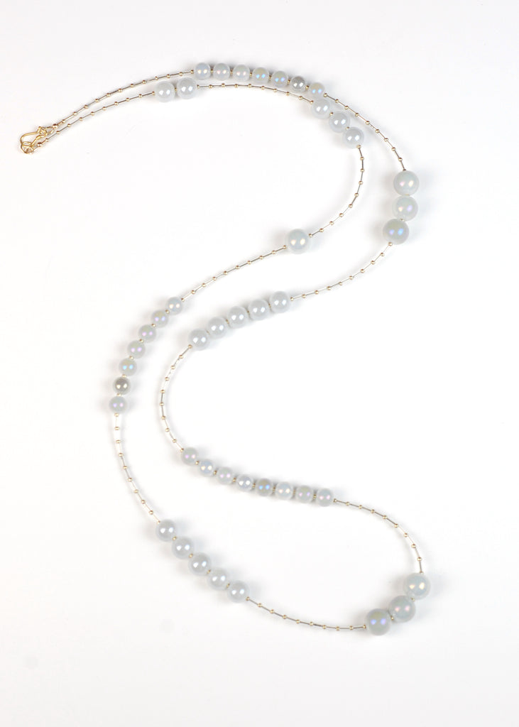 Blue Gray Glass Flapper Necklace