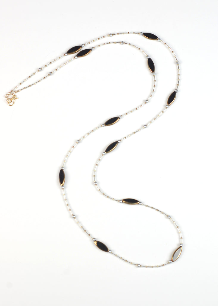 Black with Gold Flapper Necklace