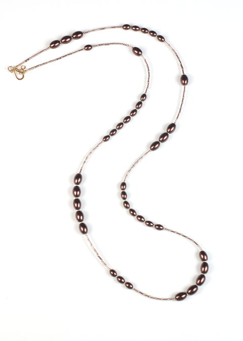 Chocolate and Violet Pearl Flapper Necklace