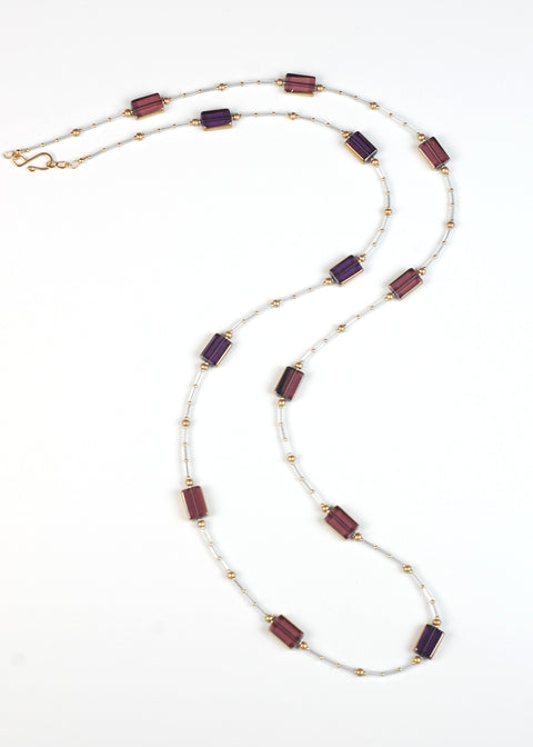 Maroon and Violet Glass Flapper Necklace