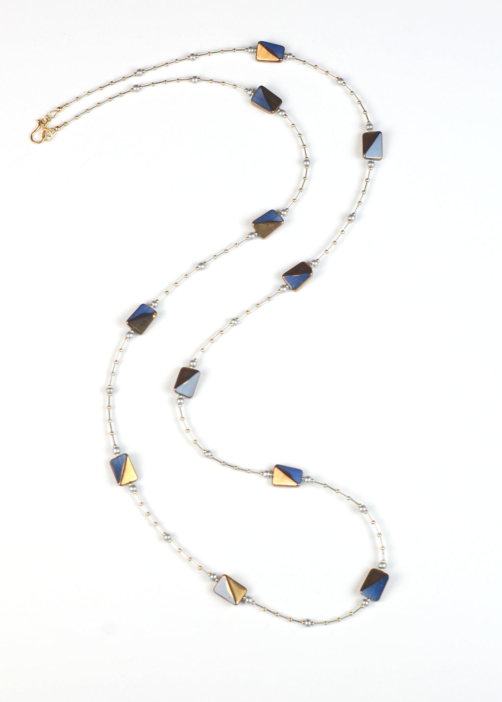 Blue Gray and Gold Flapper Necklace
