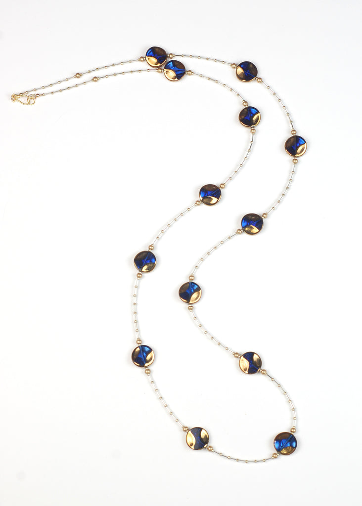 Blue and Gold Circle Flapper Necklace