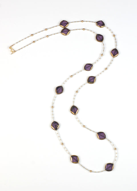 Violet Glass Flapper Necklace