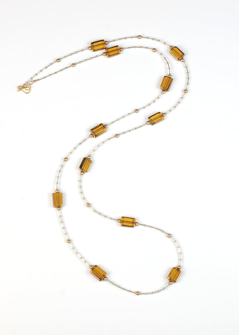 Orange and Gold Glass Flapper Necklace