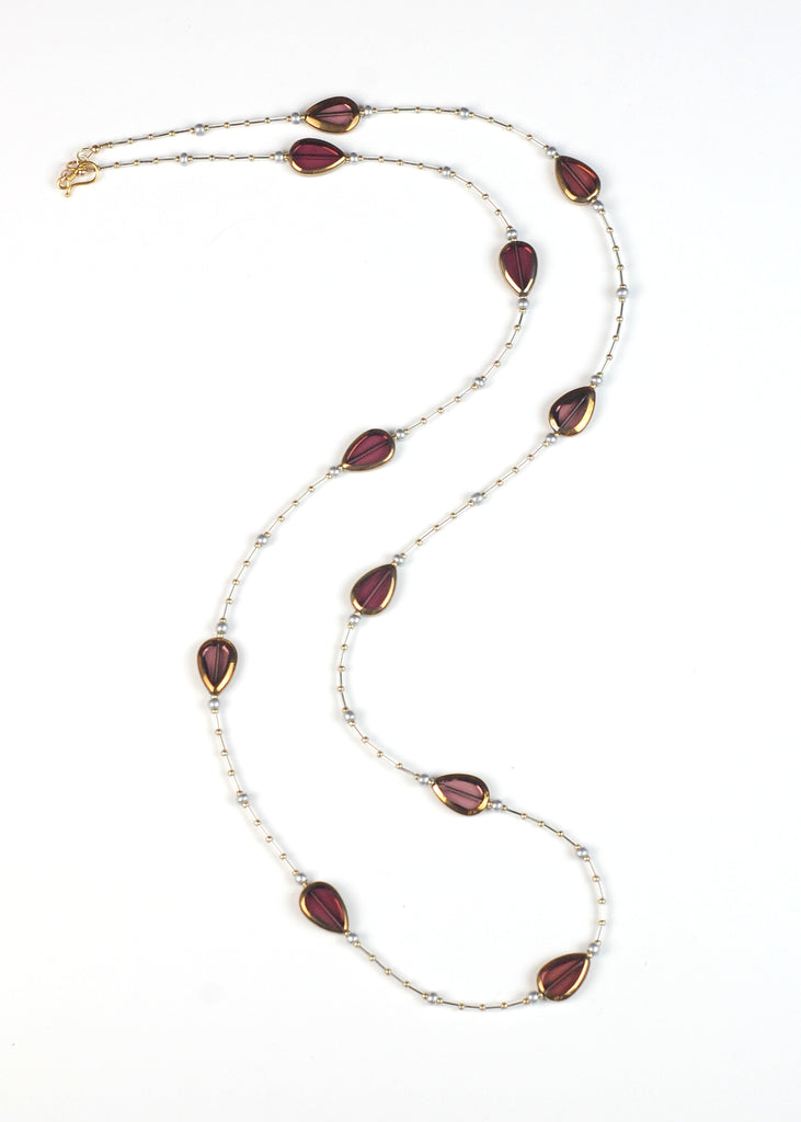 Dark Red Glass Flapper Necklace