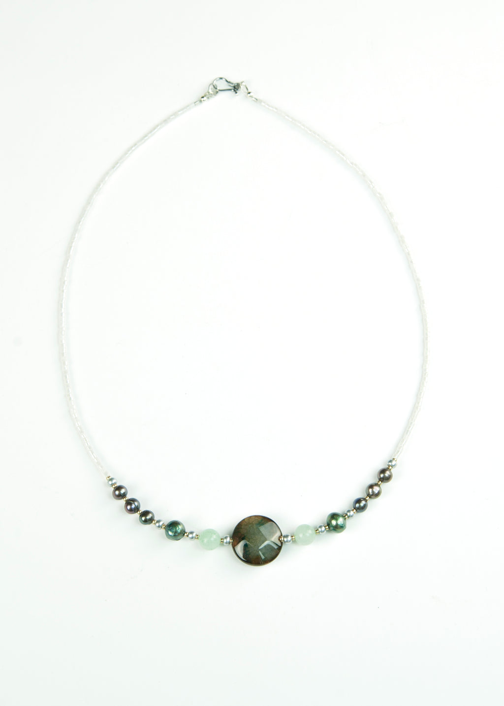 Deep Olive Pearl and Stone Envy Necklace