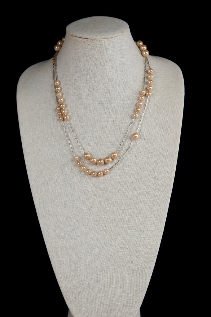 Peach Glass Flapper Necklace