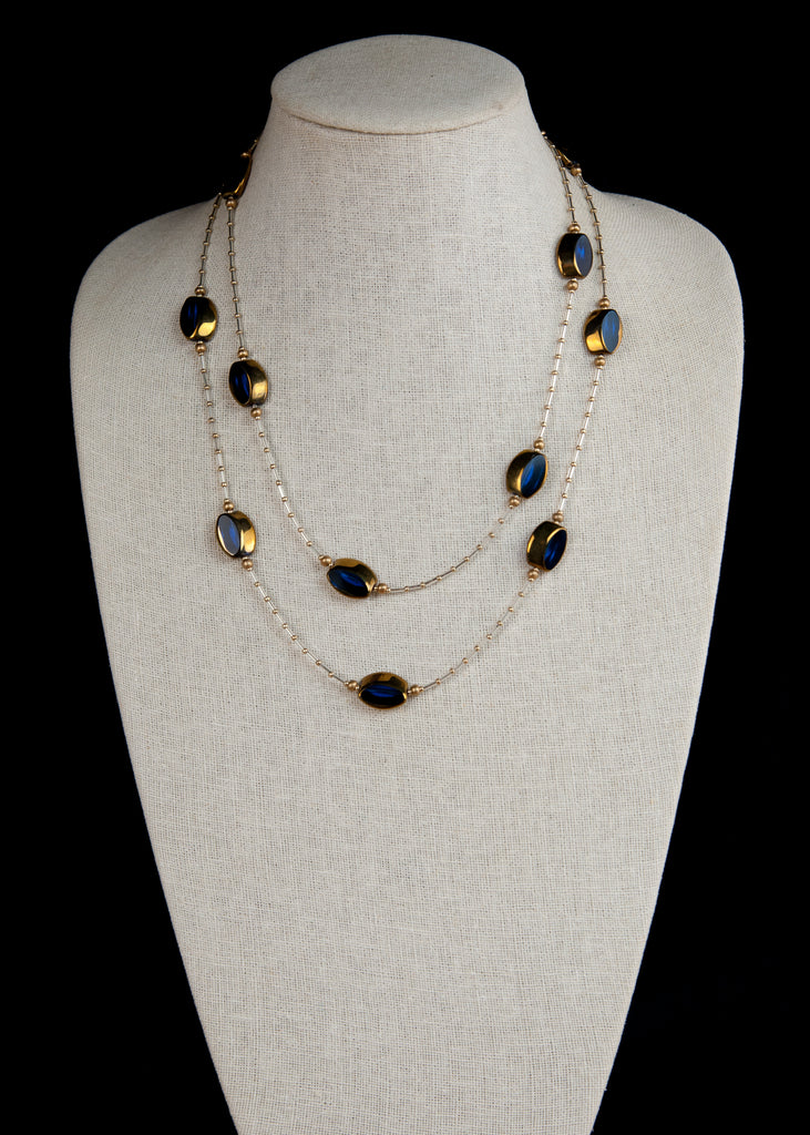 Deep Blue Glass Flapper Necklace