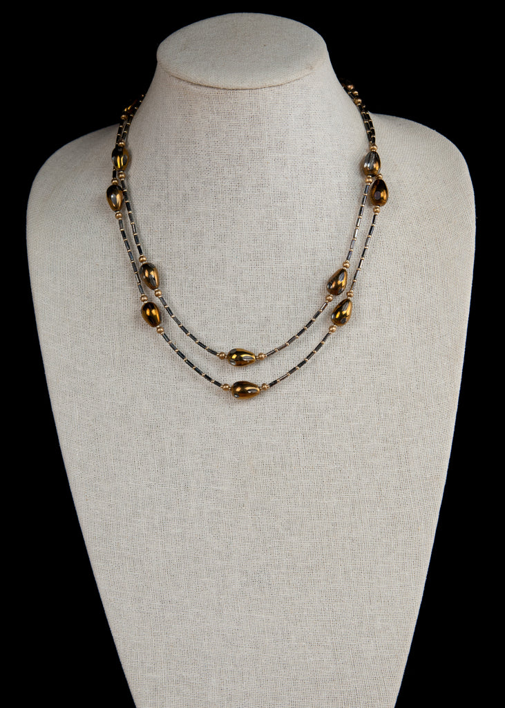 Black and Bronze Flapper Necklace