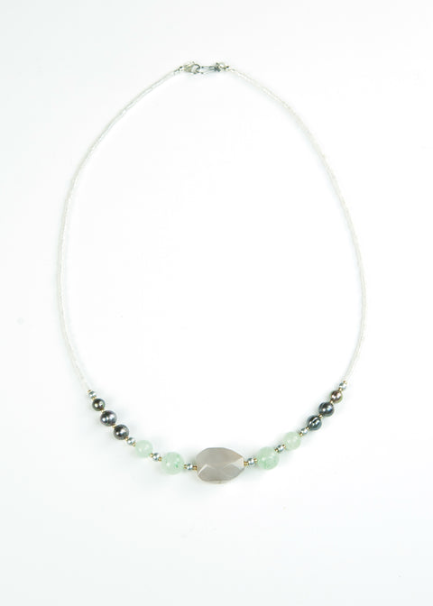 Gray and Pale Green Envy Necklace