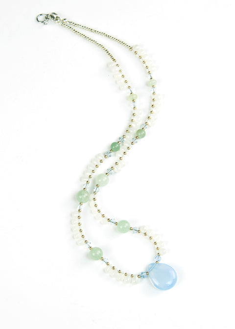 Green and Blue Drop Glass Envy Necklace