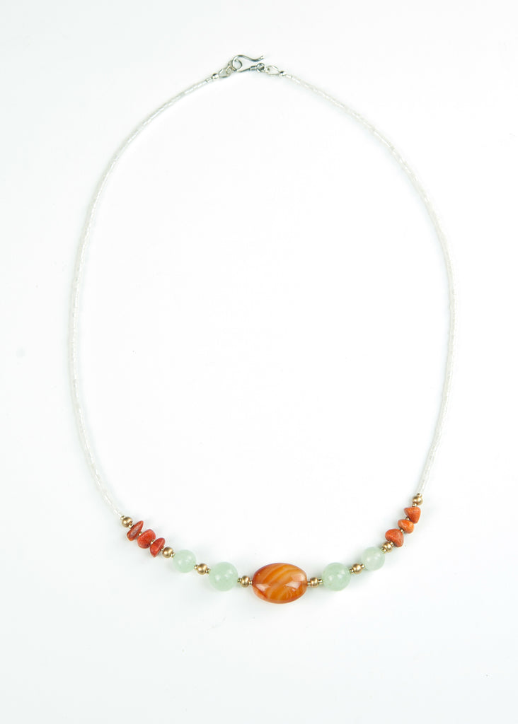 Green and Orange Glass Envy Necklace