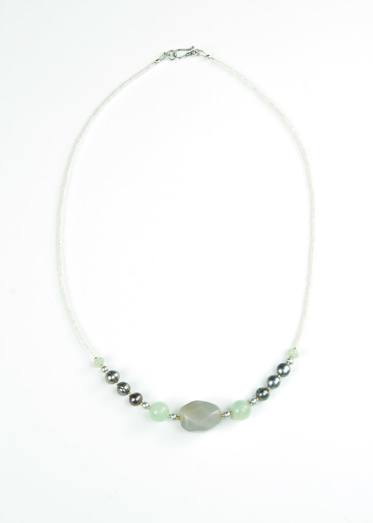 Green Cut Stone and Pearl Envy Necklace