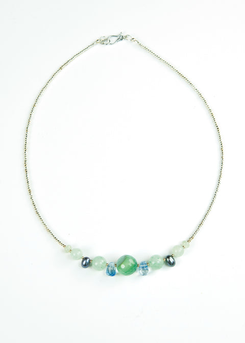 Green Faceted and Drop Glass Envy Necklace