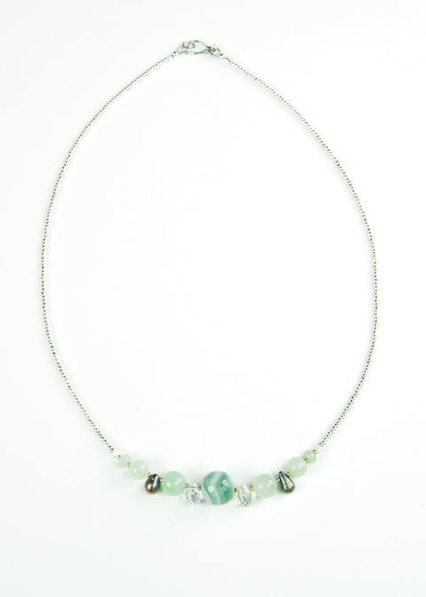 Green Glass and Drop Pearl Envy Necklace