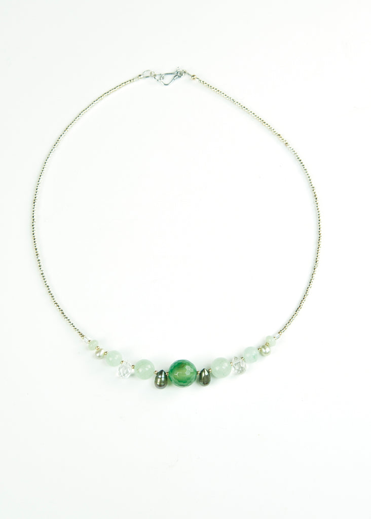Green Glass and Crystal Envy Necklace