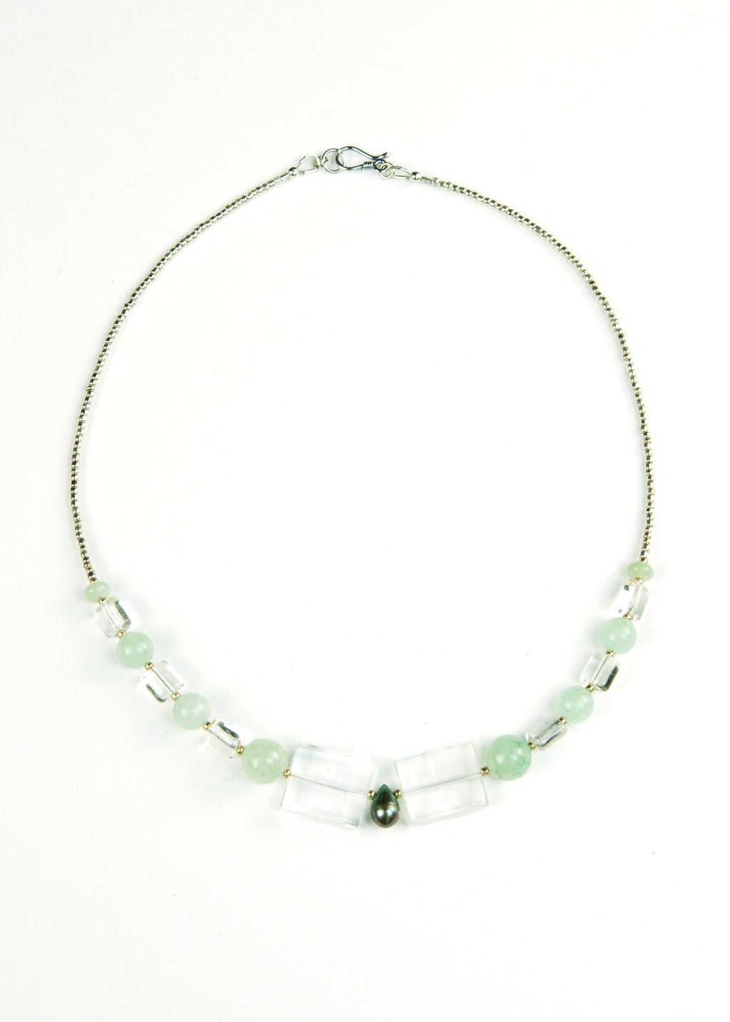 Green Glass and Square Centerpiece Envy Necklace