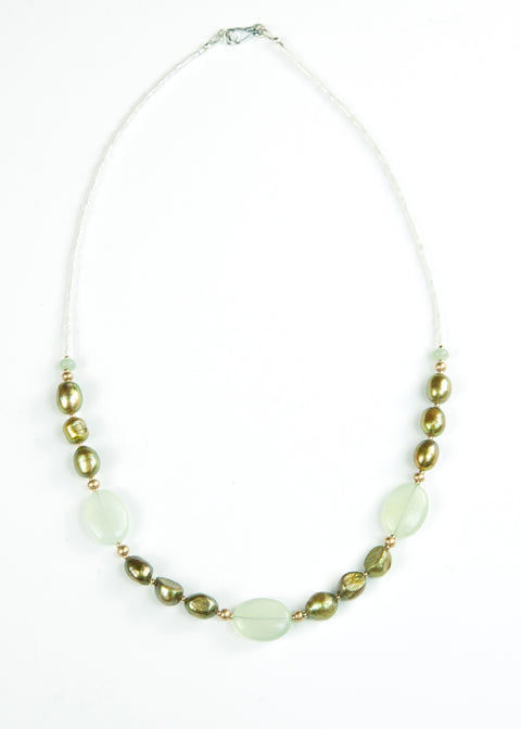 Green Glass and Olive Pearl Envy Necklace