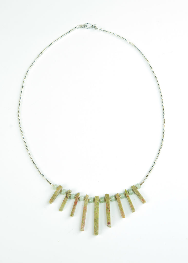 Green Glass and Spike Envy Necklace