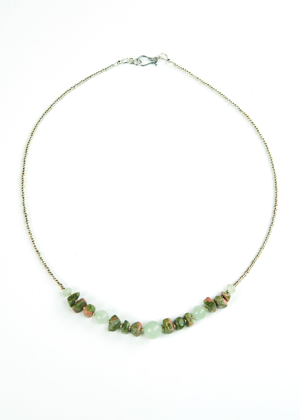 Green Glass and Stone Chip Envy Necklace