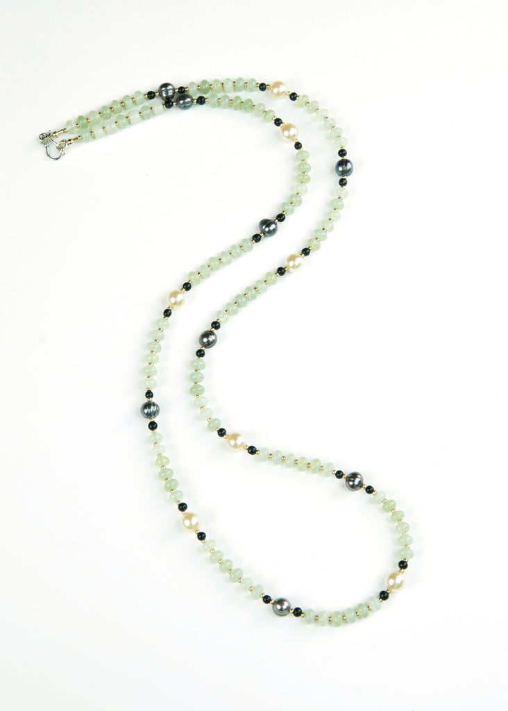 Green Pearl and Disk Envy Necklace