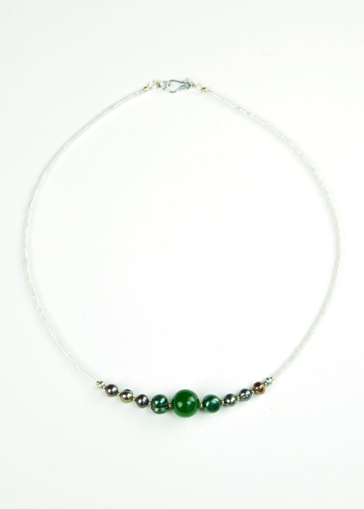 Green Pearl and Silver Envy Necklace