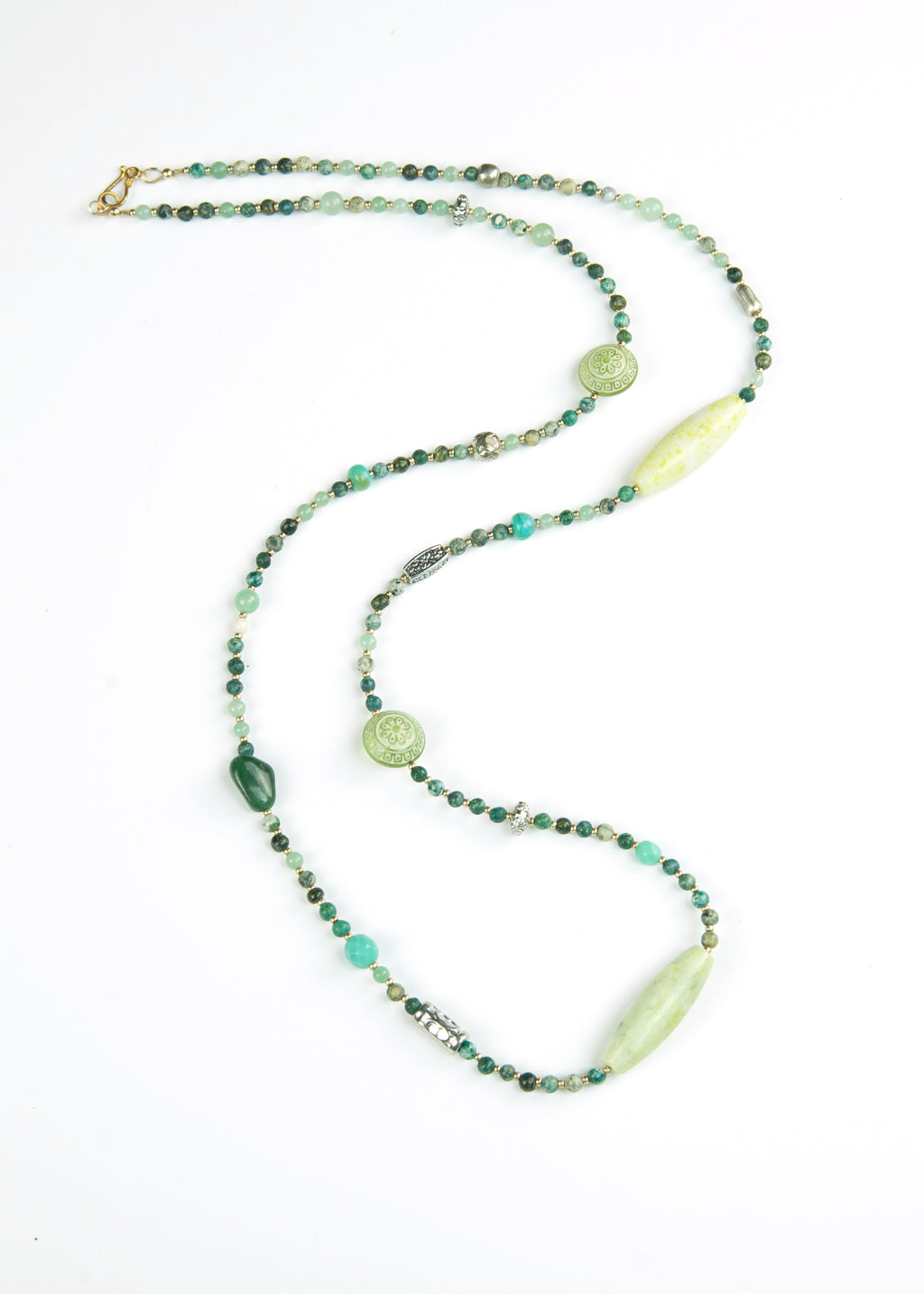 Green Stone and Metal Yoga Necklace
