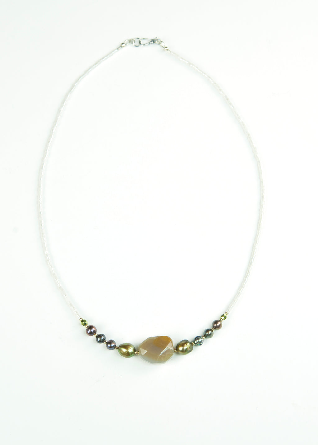 Green Stone and Pearl Envy Necklace
