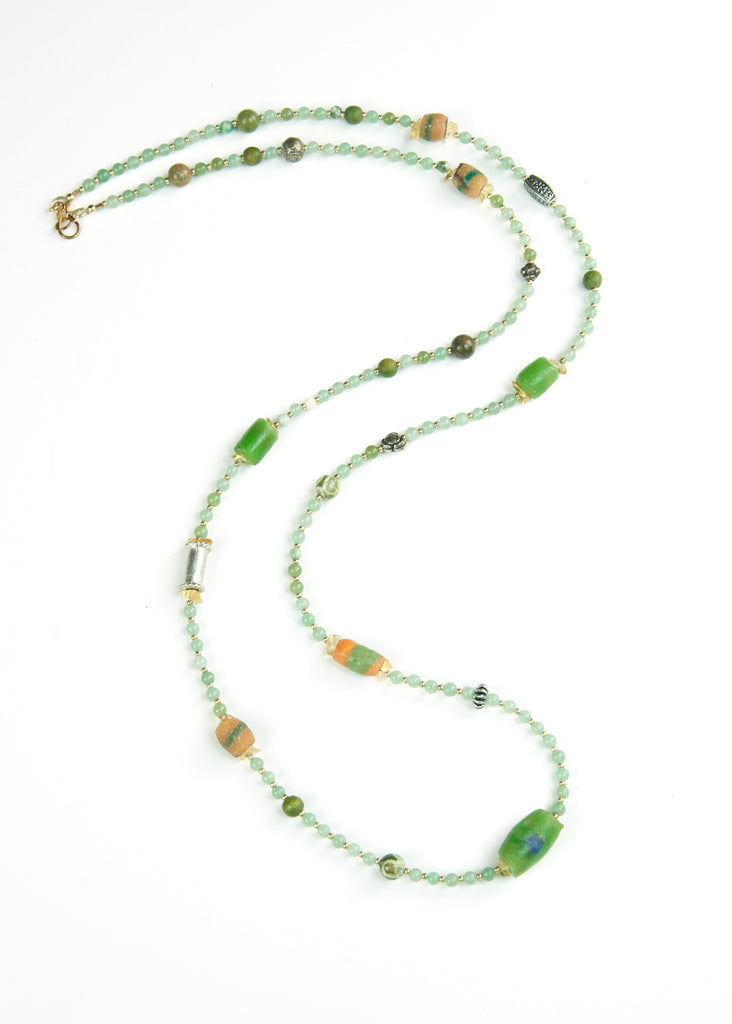 Green Stone and Trade Bead Yoga Necklace